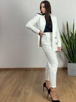 Spodnie Sorento białe w czarne paski
